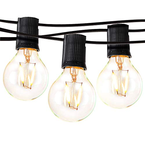 Brightech Ambience Pro - LED Outdoor Globe String Lights - Hanging 1W Vintage Edison Bulbs - Waterproof Patio Lights Create Cafe Ambience On Your Balcony - 26 Ft - Black ()