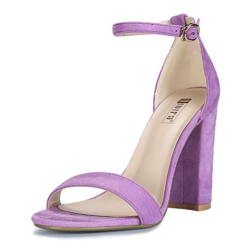 (IDIFU Women's IN4 Cookie-HI Open Toe High Chunky Block Heel Pump Sandal (Lavender Suede, 7.5 B(M) US))