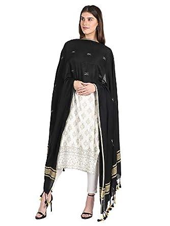THE WEAVE TRAVELLER Handloom Hand Woven Cotton Ghicha Dupatta For Women(TWT_CBD_BLACK_28, Black)