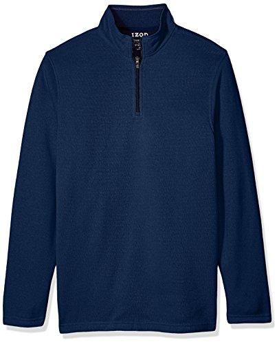 IZOD Men's Tall Saltwater Solid 1/4 Zip Sweater, Peacoat Heather, 3X-Large Big