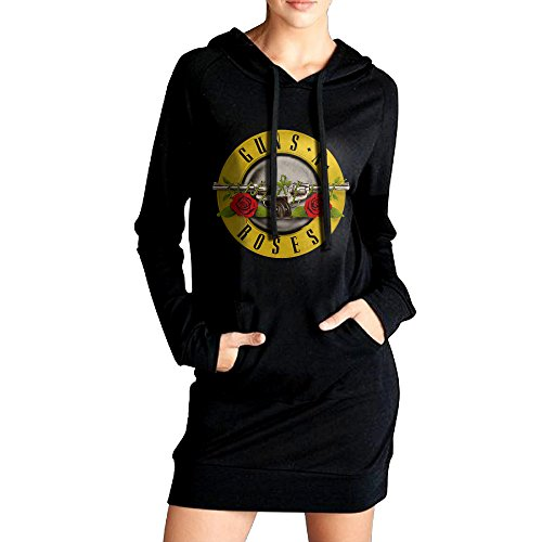 [NETTIE Women's Rock Band Logo Cross-country Vintage Hoodie Dress Kangaroo Front Pocket Hoodies Casual Style M] (Womens Axl Rose Costume)
