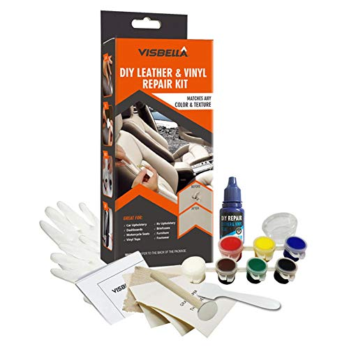 Vinyl and Leather Repair Kit No Heat, Fast Drying, Easy Step Match Any Color for Car Seats, Sofas, bags, Shoes, Jackets, Boat Seats and Couches: