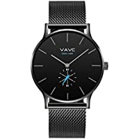 VAVC Men's Black Fashion Casual Simple Analog Quartz Dress Waterproof Wrist Watch with Black Stainless Steel Mesh Band