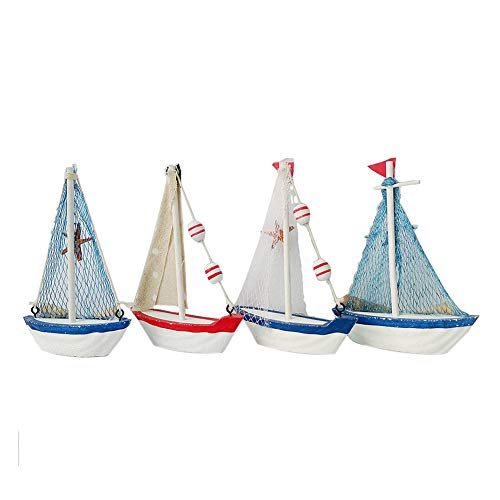 (Nautical Wooden Sailboat Decor Vintage Beach Theme Sailing Boat Model Display Sail Boat Bathroom Decor Set of 4 )