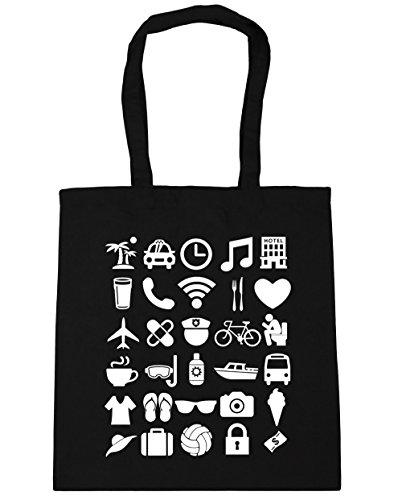 HippoWarehouse vacaciones iconos Tote Compras Bolsa de playa 42cm x38cm, 10litros negro