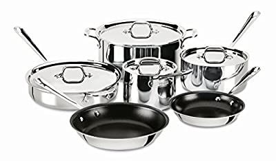 All-Clad 401488 NSR2-R Stainless Steel Tri-Ply Bonded PFOA Free Nonstick Cookware Set