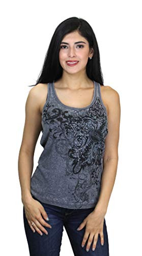 Harley-Davidson Womens Eventide Studded Cross with B&S Burnout Wash Grey Sleeveless Tank (Large)