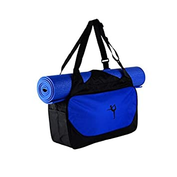 Kentop Tapis de Yoga Sac Sacs de Sport Sac Tapis de Yoga Sac de Yoga Sac à bandoulière Antiderapant Pliable pour Maison Voyage (Pas de Tapis) 48 * 24 * 16cm (Bleu foncé)