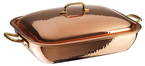 Paderno World Cuisine Rectangular Copper-Tin Roasting Pan with Copper Lid