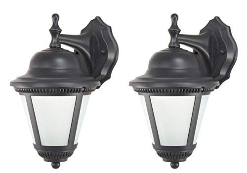 (Classic Cast Aluminum 2 Piece Set of LED Outdoor Wall Lights/Lanterns With Durable Black Finish, Frosted Glass Lens, 454 Lumens each, No Maintenance, Excellent Light Output)