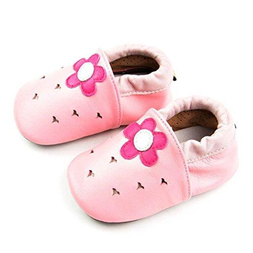 fygood Baby Soft Sole zapatos de piel Zapatitos para verano blanco blanco Talla:L:12-18months/inner length:5.11in fleur pink