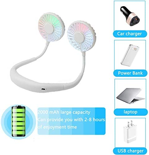 YZJ Hands Free Portable Neck Sports Fan – 2000mAh Rechargeable Dual use Personal Mini Sport Fan,360 Degrees Free Rotation 3 Speed Adjustable LED Magic Light for Outdoor Traveling White