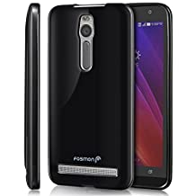Asus ZenFone 2 Case, Fosmon (DURA-CANDY) Glossy Slim Flexible TPU Gel Case Cover for ZenFone 2 - Fosmon Retail Packaging (Black)