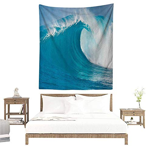 - alisoso Wall Tapestries Hippie,Ocean Decor Collection,Scene of a Clean Big Sea Wave Moving Against Strong Wind View Pattern,Blue Aqua White W39 x L39 inch Tapestry Wallpaper Home Decor