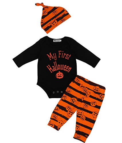 Baby Girl Halloween Outfits (3Pcs/ Outfit Set Baby Boy Girl Infant My First Halloween Rompers(0-3 Months))