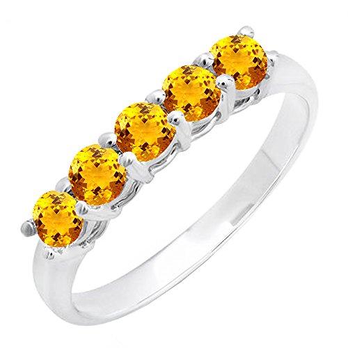 14K White Gold Round Citrine 5 Stone Ladies Anniversary Wedding Band Ring (Size 9)