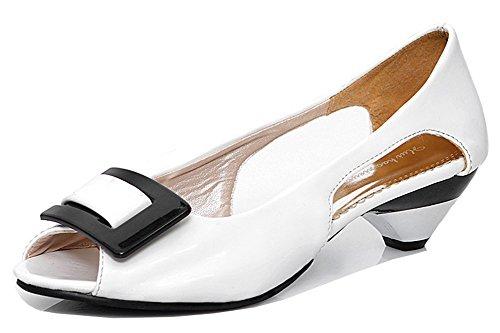 Aisun Donna Moda Ritaglio Ritaglio Color Caramella Dressy Slip On Chunky Tacco Basso Sandali Peep Toe Scarpe Bianche
