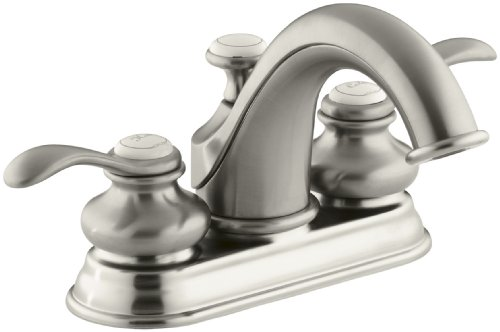 Brushed Nickel Plug Button - KOHLER K-12266-4-BN Fairfax Centerset Lavatory Faucet, Vibrant Brushed Nickel