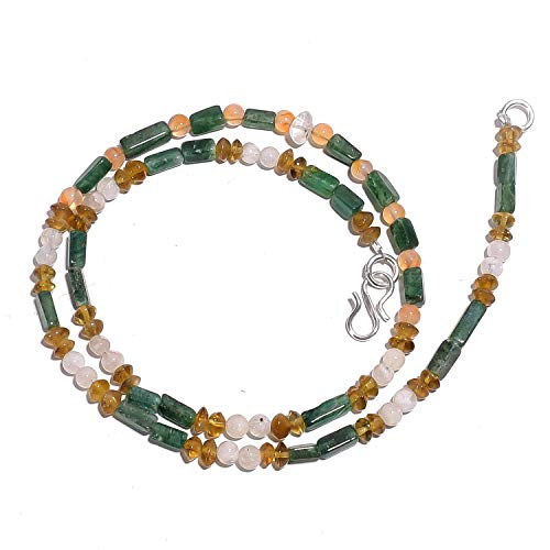 kanta incorporation Natural Aventurine Moonstone Golden Topaz Gemstone Beads Necklace 17
