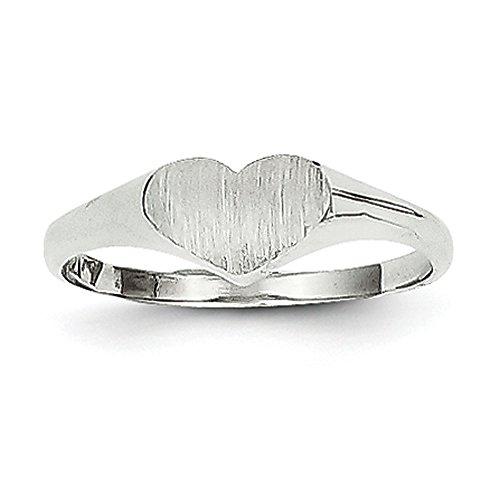 K White Gold Signet Heart Ring (14k Gold Baby Signet Ring)