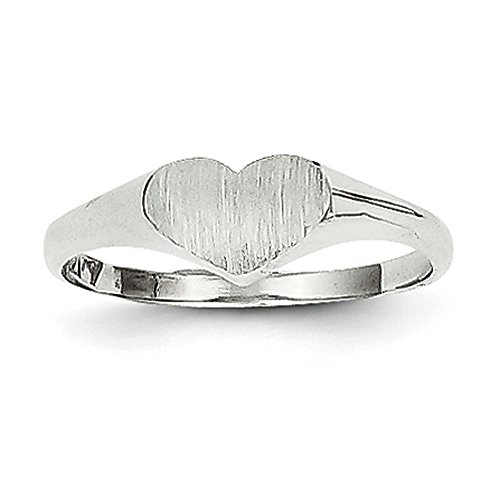 (Baby and Children 14K White Gold Signet Heart Ring)