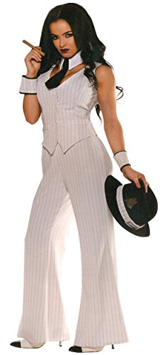 Mob Outfit (UHC Women's Medieval Mob Boss Outfit Adult Fancy Dress Halloween Costume, S (4-6))