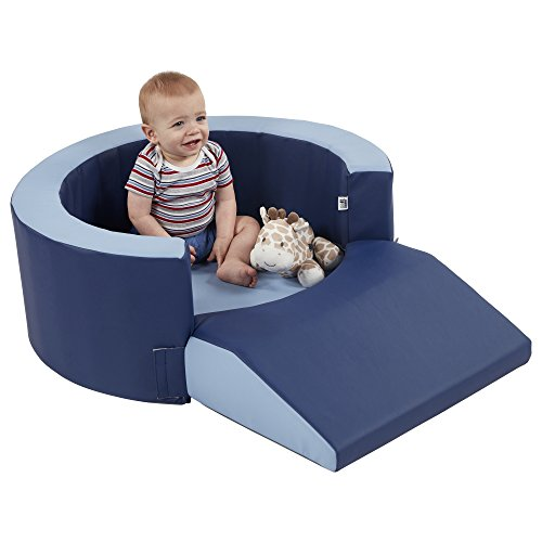ECR4Kids SoftZone Lil Personal Space, Cozy FoamRetreat for Toddlers to Read, Snack & Relax, Navy/Powder Blue