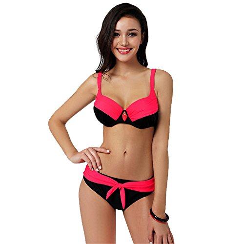 Ivan Johns Sexy 2017 Sexy Swimsuit Popular Swimwear Bikini Women Beachwear Patchwork Summer Style large size Bikinis Set Maillot De Bain W81549 Rose XXXL Fantastic - Names Popular 50s