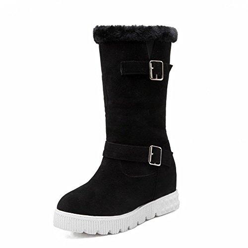 AgooLar Women's Mid-Top Solid Pull-On Round Closed Toe Kitten-Heels Boots Black SZFbl6