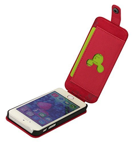 Disney iPhone5 iPhone5s Flap Case Vertical Cover Jacket Mickey Mouse Red J-I5S-DN04
