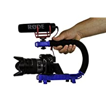Cam Caddie Scorpion Jr Stabilizing Camera Handle for DSLR and GoPro Action Cameras - Professional Handheld U/C-Shaped Grip with Integrated Accessory Shoe Mount for Microphone or LED Video Light - Includes: Smartphone / GoPro Adapters and 1/4-20 Threaded Mounting Knob - Blue