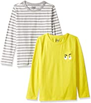 Amazon/ J. Crew Brand- LOOK by crewcuts Boy's 2-Pack Graphic/Solid Long Sleeve T-S