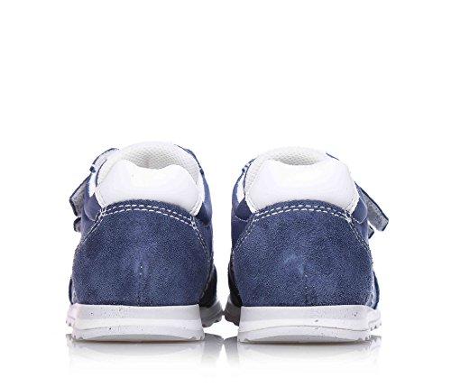 NERO GIARDINI - Chaussure bleue en tissu et suède, avec velcro, logo sur la languette, garçon, garçons
