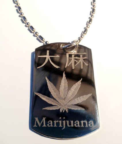 Dog Tags Kanji - Llavero de metal con diseño de marihuana ...