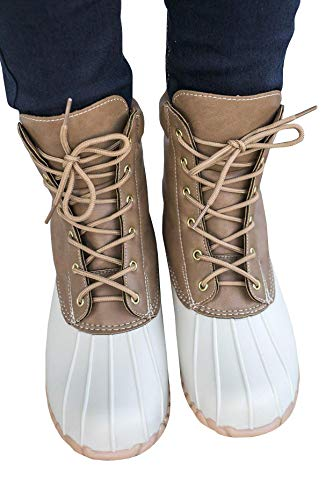 Ivay Women's Lace Up Two Tone Combat Waterproof Duck Rain Boot Outdoor Shoes - stylishcombatboots.com