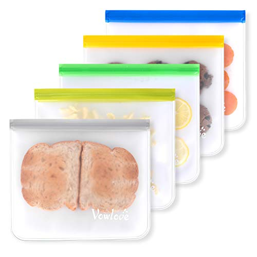 - Vowlove Reusable Sandwich Bags, 5 Pack FDA Approved Reusable Storage Bags- Leakproof Reusable Ziplock Bags for Freezer, Snacks, Lunch Sandwich, Fruit and Travel Items