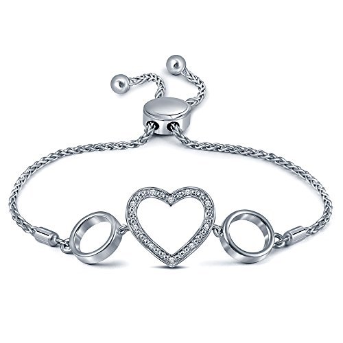 - 0.05ct Round White Diamond Sterling Silver Adjustable Heart Circle Open Strand Bolo Bracelet