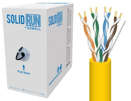 Sewell Direct SW-29964 SolidRun Cat6 Bulk Cable, UTP, CM, 23 AWG, High Copper Content CCA, Yellow PVC Jacket, 1000 ft. ()