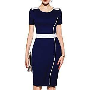 WOOSUNZE Women's Short Sleeve Colorblock Slim Bodycon Business Pencil Dress