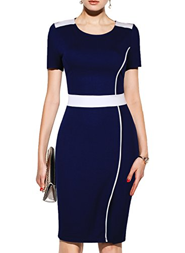 WOOSUNZE Women's Short Sleeve Colorblock Slim Bodycon Business Pencil Dress