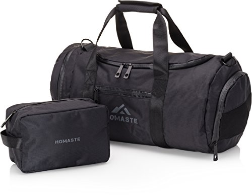 Homaste Gym Bag Bundle - Designer Gym Bag for Men and Women with Bonus Dopp Kit, Vented Shoe Compartment, and Waterproof Nylon Shell - Midnight (Shoe Bag Kit)