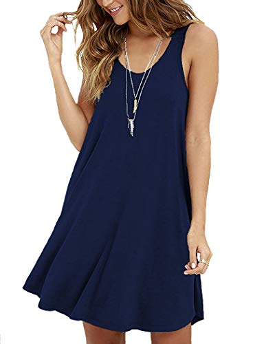 VIISHOW Women Casual T-Shirt Sleeveless Swing Dress Tunic Tank Top Dresses,Navy Blue,Large