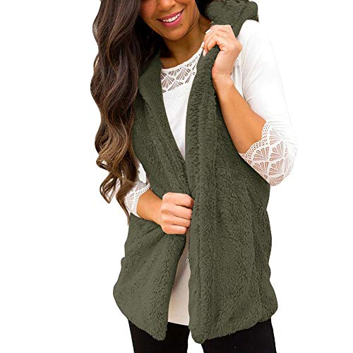 GB-Coat Gobing Women Fashion Lady Faux Fur Solid Casual Sleeveless Warm Vest Waistcoat (Color : Army Green, Size : S) ()