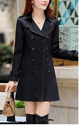 Slim Manteau d'exterieur Jacket Taille Boutonnage Femme Trench Double avec Noir Ceinture Manteau Vetements Trench Blansdi Revers de UYOwZqIY