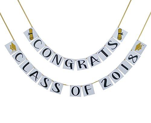 Congrats Class of 2018 Graduation Banner - Graduation Party Decorations - Pre Strung Grad Banner (Party School High Invitations Graduation)