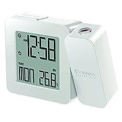 Oregon Scientific RM338PA/CLMW Projection Atomic Clock Indoor Temperature, White by Oregon Scientific