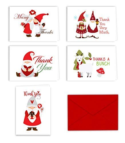 Paper Frenzy Christmas Holiday Gnomes Thank You Note Cards and Envelopes - 25 ()