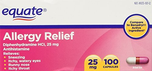 f Diphenhydramine HCI, 25 mg 100ct Compare to Benadryl by Equate (Allergy Relief Capsules)