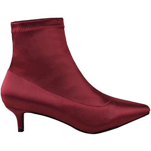 Kitten Lycra Cherry Thirsty Size Toe Dark Ankle Burgundy Fashion Satin Womens Pointed Shoes Stretch Red Boots Satin Ladies Low Heel SIZwU