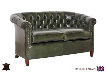 Chesterfield Sofa Victoria 2 Sitzer Echtleder Used Optik Vintage Semi Anilin  Leder